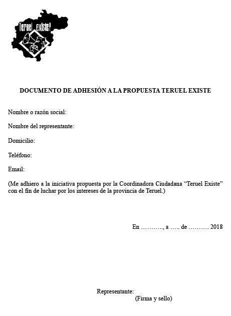 Adhesion a teruel Existe. Salvemos Teruel