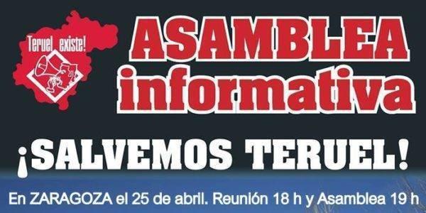 Asamblea informativa Teruel Existe en Zaragoza. 25 de abril