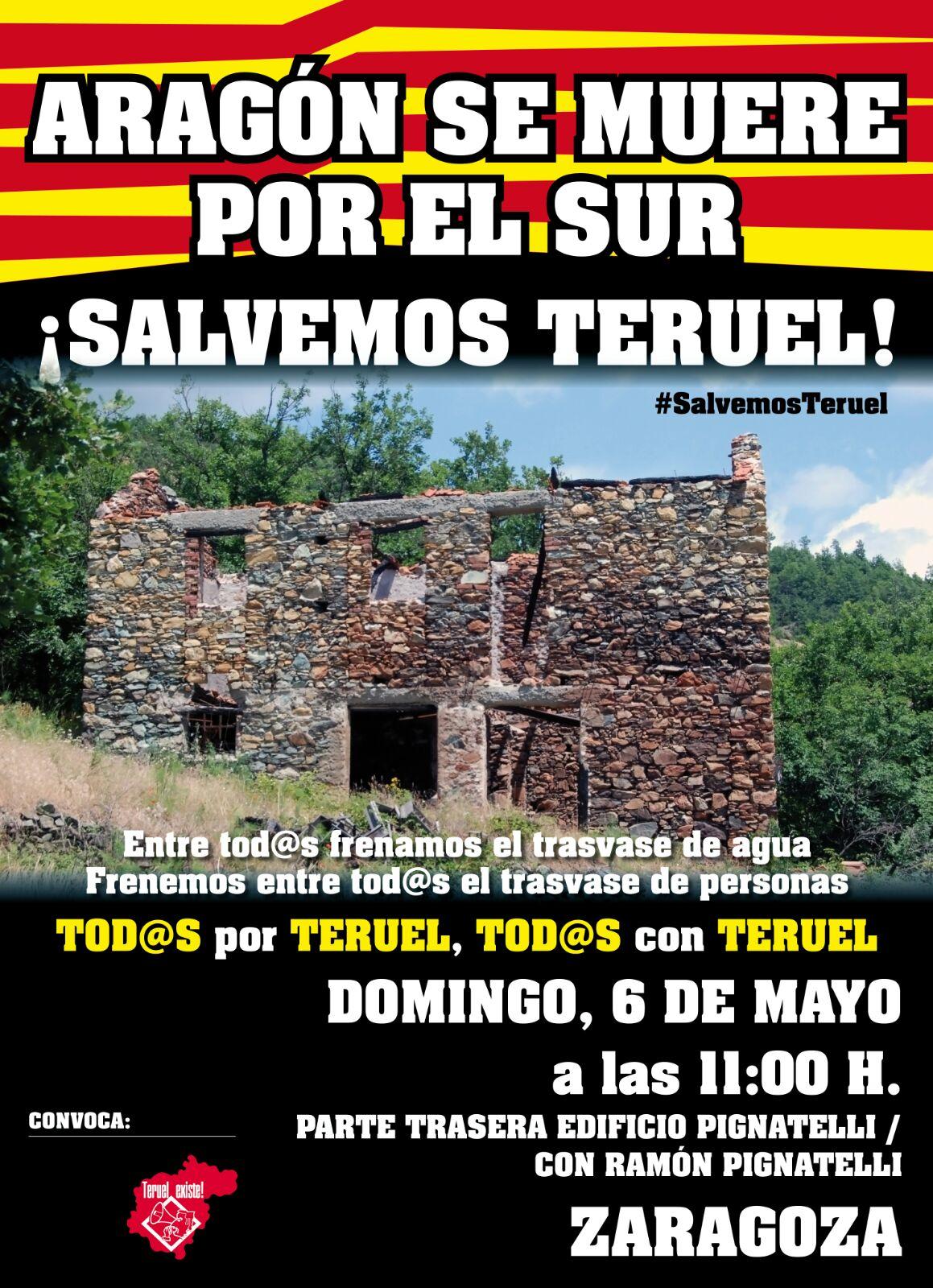 Cartel SALVEMOS TERUEL 6 Mayo- Teruel Existe. TERUEL EXISTE