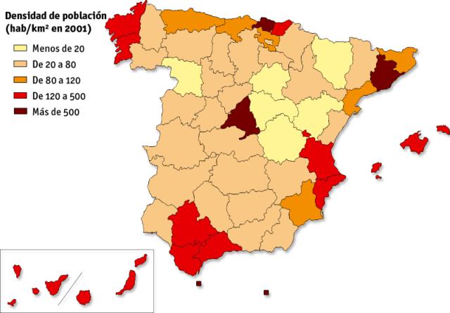 Densidades de población de 2001 por provincias