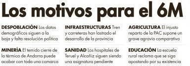 Motivos para la manifestación del 6M de Teruel Existe