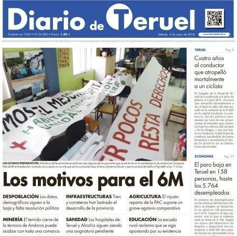 Portada del diario de Teruel con los motivos para la manifestación del 6 M de Teruel Existe