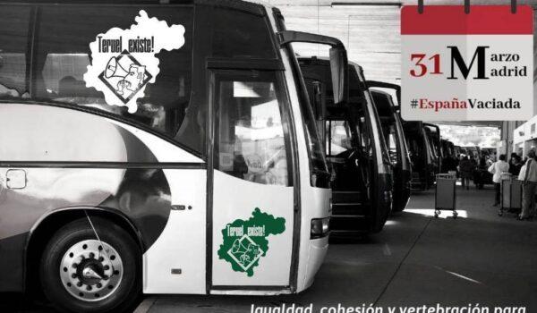 Autobuses el 31M para la Revuelta de la España Vaciada