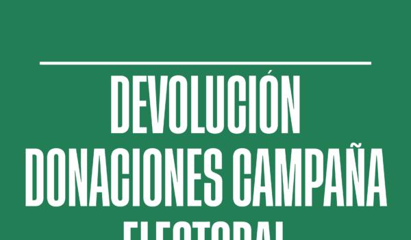 Devolución de las aportaciones para la campaña electoral de la Agrupación de electores