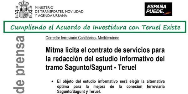 Acuerdo: Licitan la redacción del estudio informativo del Corredor Cantábrico-Mediterráneo en el tramo Sagunt- Teruel