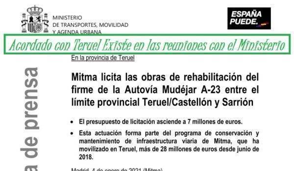 Licitan la rehabilitación de un nuevo tramo de la A-23 entre Sarrión y el límite con Castellón cumpliendo los acuerdos con Teruel Existe