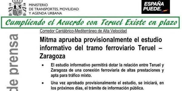 Cumpliendo el Acuerdo con Teruel Existe: aprobado el Estudio informativo del Corredor de altas prestaciones entre Zaragoza y Teruel