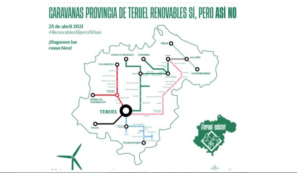 Manifestación por los proyectos de renovables: este domingo caravanas de coches de todas las comarcas se reunirán en Teruel