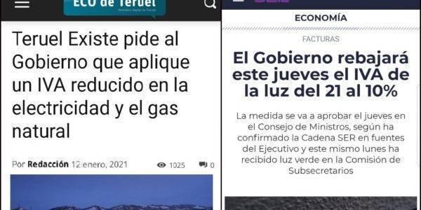 El Gobierno bajará el IVA de la luz al 10%, tal y como solicitó Teruel Existe en el Senado en enero