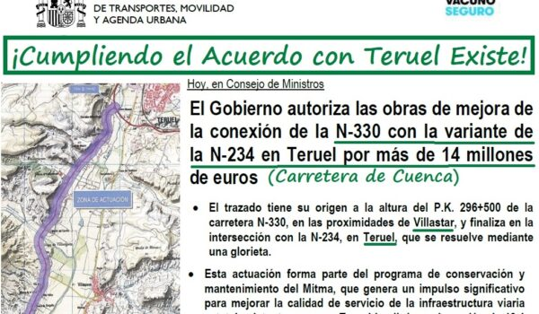 Licitan las obras de la N-330 entre Teruel y Villastar cumpliendo el Acuerdo con Teruel Existe, como recogía el informe de Moncloa