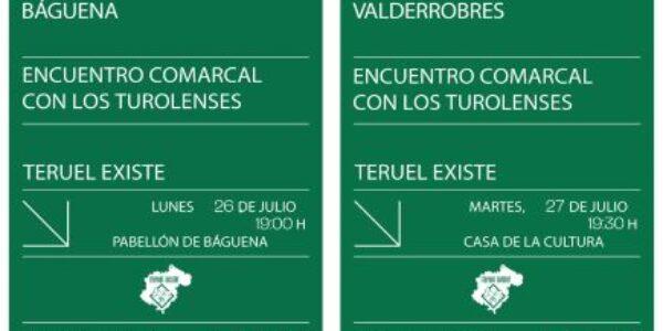 Encuentros comarcales con Teruel Existe en el Jiloca, Matarranya, Bajo Martín y Cuencas Mineras