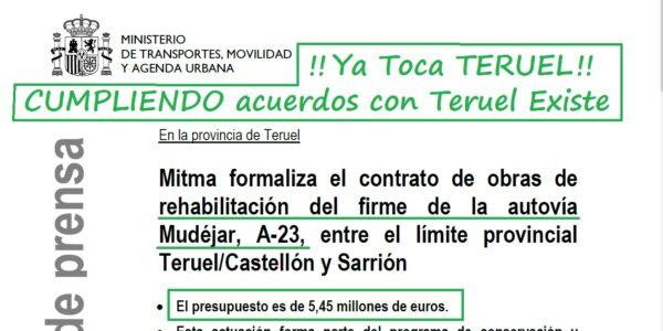 La rehabilitación de la A23 entre Sarrión y el límite con Castellón con 5,45 millones, un paso más en los acuerdos con Teruel Existe