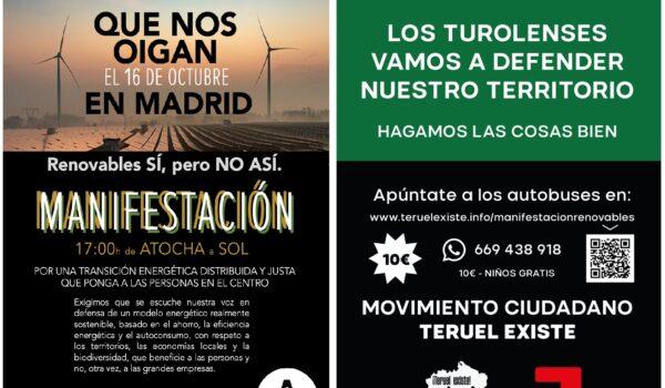 Autobuses para la Manifestación en Madrid Renovables Sí pero No Así