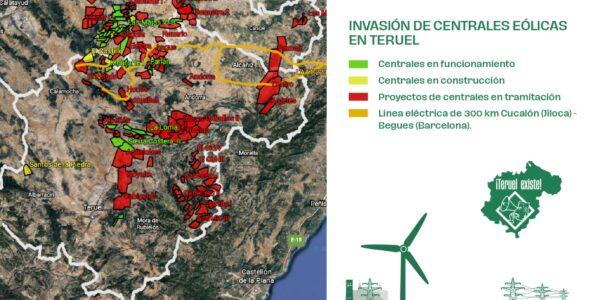 Teruel Existe presenta un mapa mostrando que el 10% de la provincia estaría ocupado con los proyectos eólicos