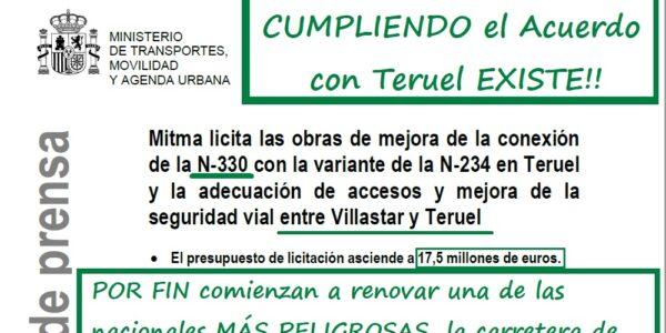 La partida presupuestaria que consiguió Teruel Existe hace posible la reforma de la N-330 entre Villastar y Teruel