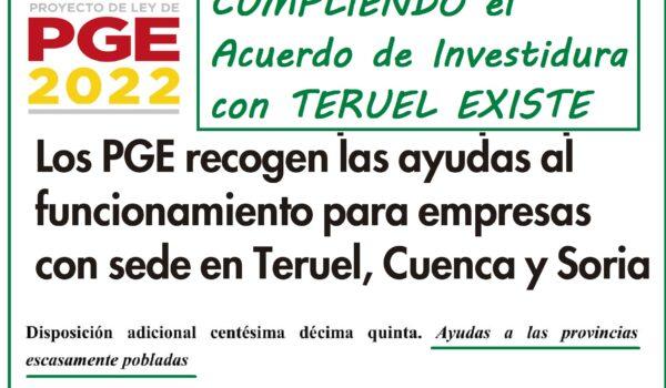 La inclusión de las ayudas a empresas en zonas despobladas en los PGE cumple el Acuerdo de investidura con Teruel Existe